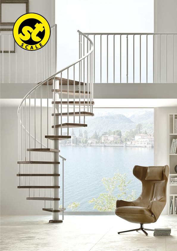 scale moderne chiocciola acciaio legno amserramenti