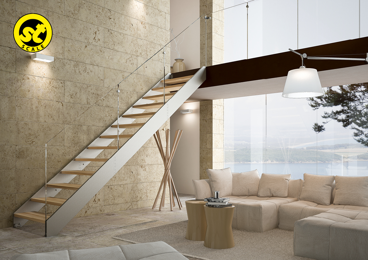 scale moderne vetro cristallo acciaio legno amserramenti